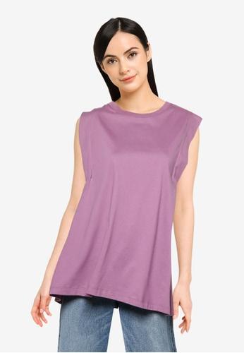 LOWRYS FARM purple Tuck Sleeve Top B9948AAB950872GS_1