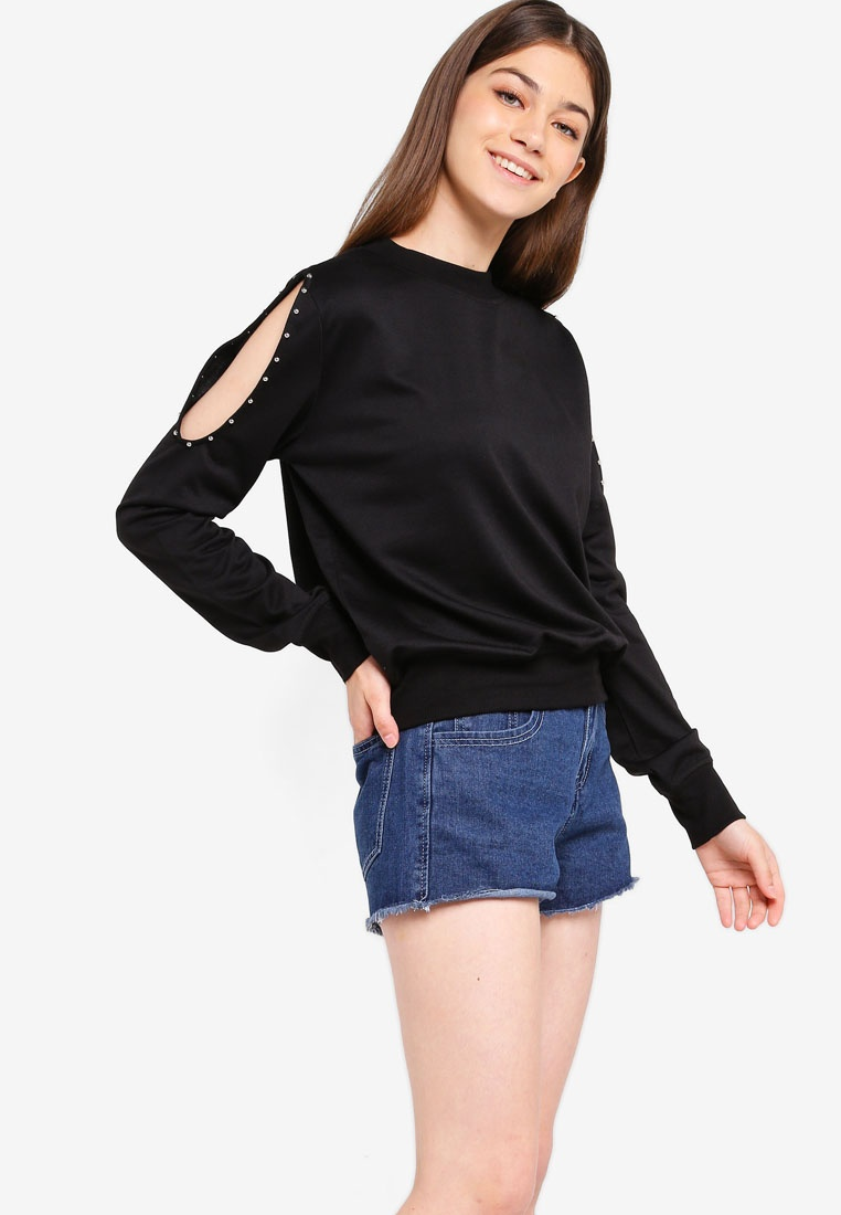 Black Shoulder Studded Top Something Cold Borrowed pBS1w1qF
