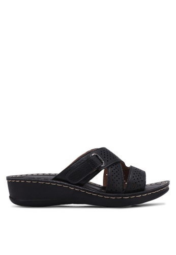 Noveni black Perforated Wedge Sandals NO978SH0RX3BMY_1