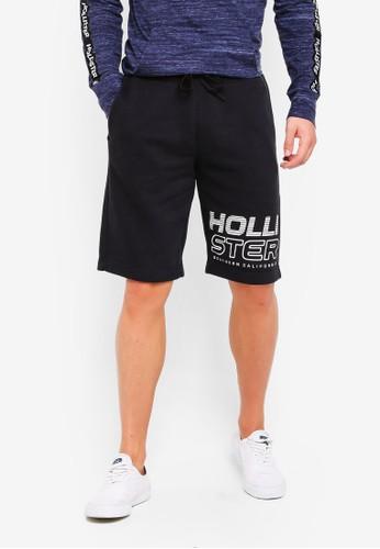 Hollister black and multi Print Logo Longboard Shorts 4E5ABAAC3CC746GS_1