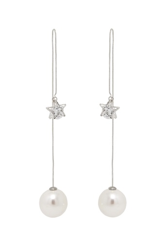 Jaysa Collection silver Pearl Silver Dangle Earrings With Crystal Star Ornament JA875AC0GMB1SG_1