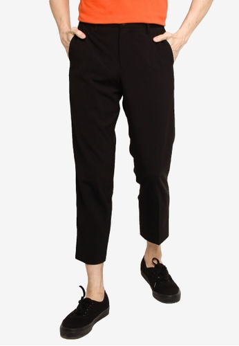 GLOBAL WORK black Woven Cropped Trousers E9E6CAA37702D6GS_1