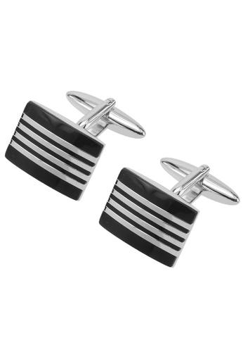 CUFF IT black Black Enamel Stripes Cufflinks CU047AC97AHEHK_1