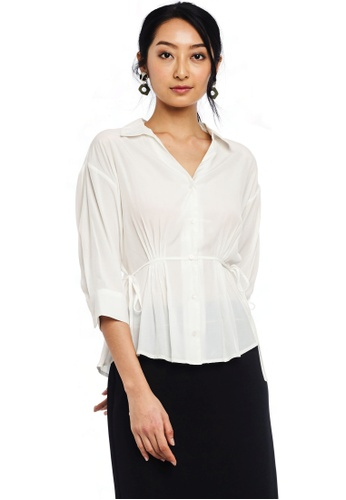Nichii white Drawstring V-Neck Buttoned Blouse D656AAAD66FF39GS_1