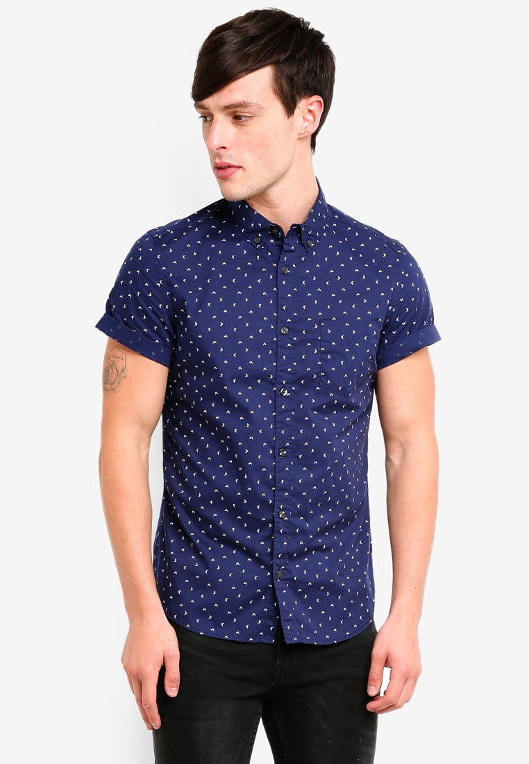 Menswear Burton Navy Printed London Navy Shirt Blue Sleeve Short RwW6RB