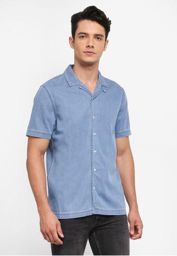 Topman blue Denim Bleach Revere Shirt D39E0AA9D1A2DBGS_1