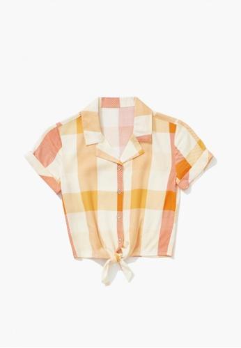 FOREVER 21 orange Knotted Plaid Shirt 6AF1CKA70B280AGS_1
