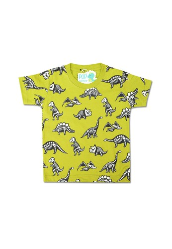 Pop Kidswear green Pop Kidswear Dino Bone Kids Tee 7D375KAB8D82EAGS_1