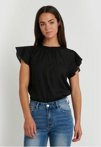 FORCAST black FORCAST Mona Flutter Sleeve Top 6ECB7AA2395942GS_1