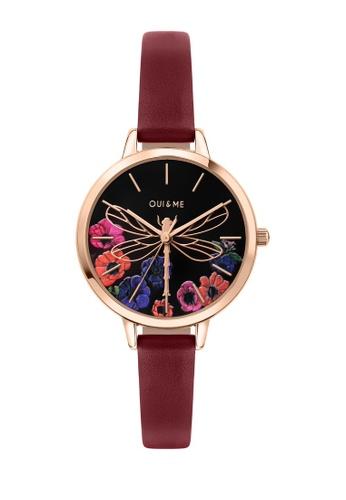 Oui & Me red Petite Fleurette Quartz Watch Peach Leather Strap ME010093 1B46EAC970778DGS_1