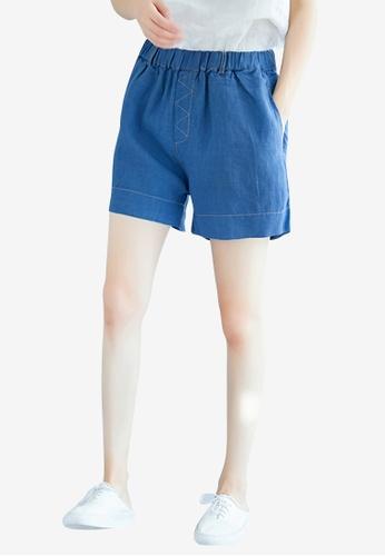 Lara blue Women's Elastic Waist Shorts 0B975AA820C54BGS_1