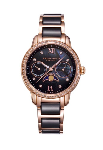 Aries Gold black Aries Gold Enchant Luna Rose Gold and Black Watch 09AC4AC5198F33GS_1