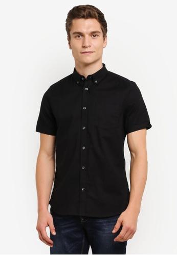 Burton Menswear London 黑色 Short Sleeve Oxford Shirt BU964AA0RUL6MY_1