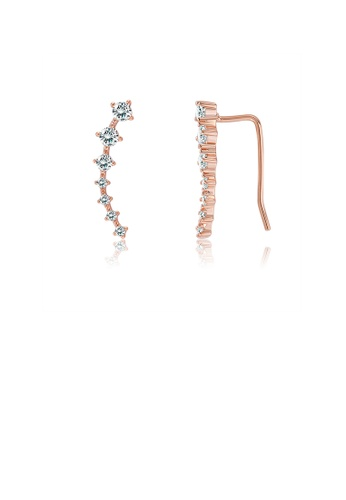 Glamorousky white 925 Sterling Silver Plated Rose Gold Simple Geometric Line Earrings  with Austrian Element Crystal EDB93AC1C9DA7DGS_1