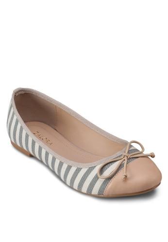 條紋蝴蝶結平底鞋, 女鞋, 芭蕾平底zalora 內衣鞋