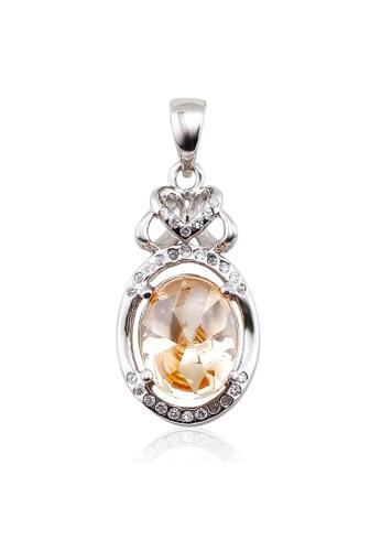 OUXI silver Ouxi Gorgeous Sterling Pendant (Silver/Orange) OU821AC26VGJMY_1