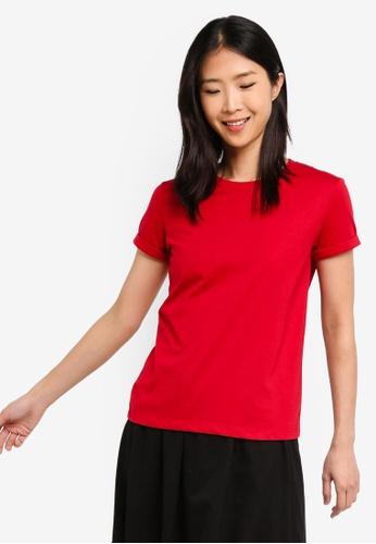 ZALORA BASICS red Basic Rolled Sleeves Crew Neck T-Shirt F78E9AAF14E2E7GS_1