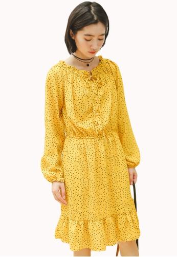 Shopsfashion yellow Polka Dot 2-way Flare Dress in Yellow EF40DAAE09BEF7GS_1