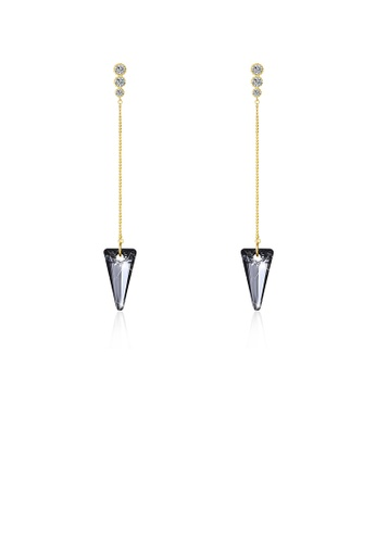Glamorousky black 925 Sterling Silver Elegant Sparkling Long Earrings with Black Austrian Element Crystal 0517CACCEA9C13GS_1