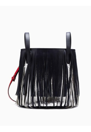Calvin Klein navy Leather Fringe Bucket Bag 362A0AC845F273GS_1