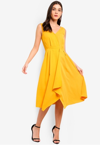 ZALORA yellow Pleat Details Midi Dress 95C86AAA937E3BGS_1