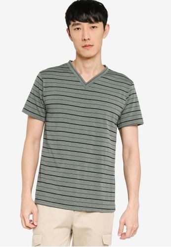 ZALORA BASICS green Striped V-Neck T-shirt FD08EAA41815AAGS_1