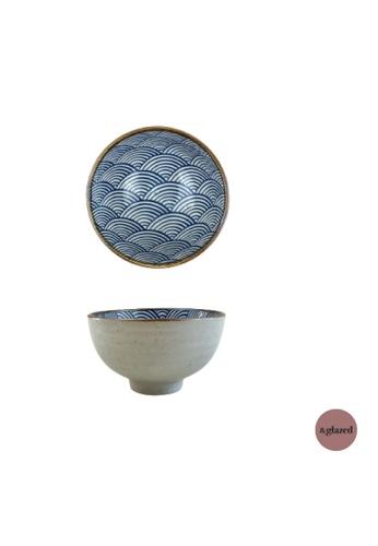&glazed white and blue &Glazed Seigaiha 4.3-inch Small Bowl 06B34HL4EC54D9GS_1