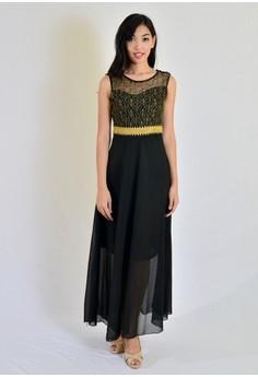 Aw Chiffon Dress With Lace And Belt Design