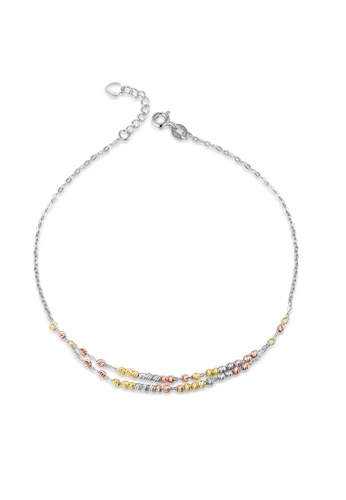 MaBelle red and yellow and silver 14K 585 Yellow Rose and White Gold Diamond Cut Beads Double Chain Anklet 44EE8ACEDAAB7EGS_1