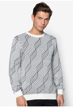 Cubism Pattern Knitted Pullover
