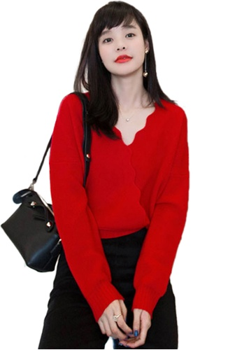 Sunnydaysweety red V Neckline With Scallop  Wrap Knit Top CA112812RD B6F17AAA9B1782GS_1