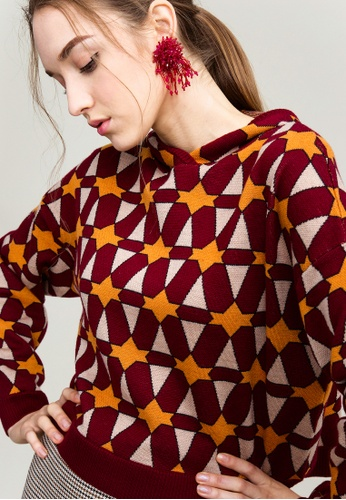 KLAPS red Patterned Cropped Hoodie 110E2AAB2FB361GS_1