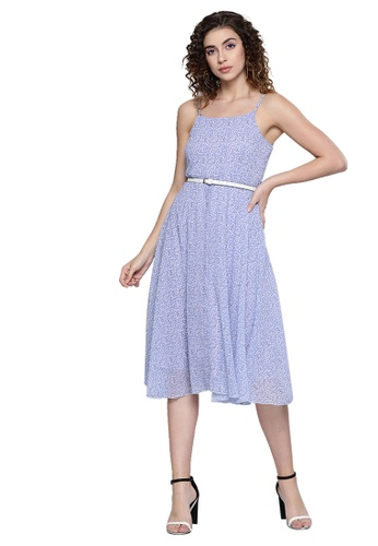 SASSAFRAS purple Lavender Ditsy Floral Strappy Belted Midi Dress B51F6AAFD1A581GS_1