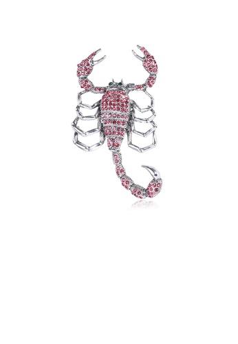 Glamorousky pink Fashion Personality Scorpion with Pink Cubic Zirconia 54C47AC70F1862GS_1