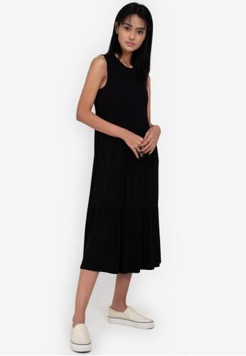 ZALORA BASICS black Fluted Hem Midi Dress 4914DAA131F8A1GS_1