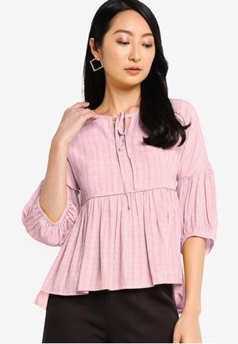ZALORA BASICS pink Bishop Sleeve Babydoll Top 36448AA0F14329GS_1