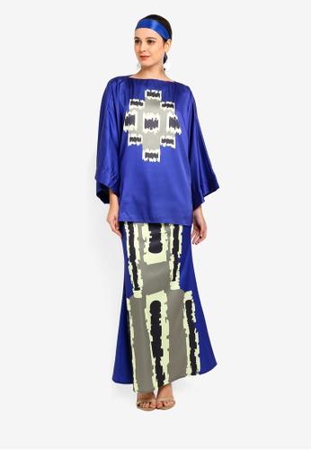Tom Abang Saufi for ZALORA blue Flores Kimono Kurung 2D54DAABE164E4GS_1