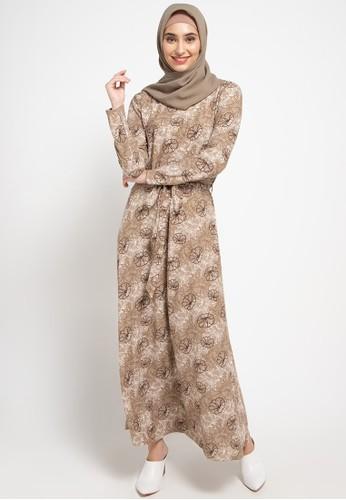 SIMPLICITY brown Floral Print Maxi Dress 30374AA6CFB33CGS_1