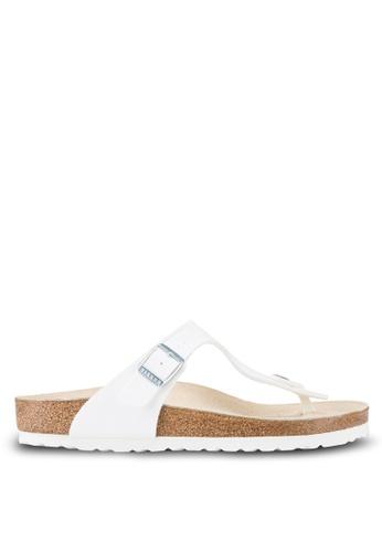 Birkenstock white Gizeh Birko-Flor Sandals BI090SH04OBJMY_1