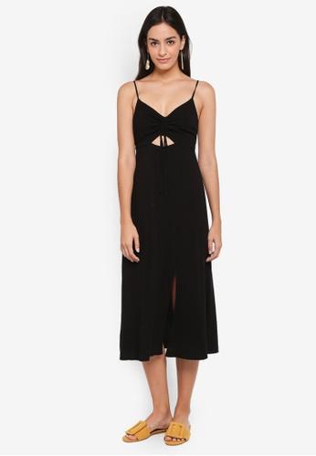 TOPSHOP black Ruch Front Midi Slip Dress B3410AA00E108FGS_1