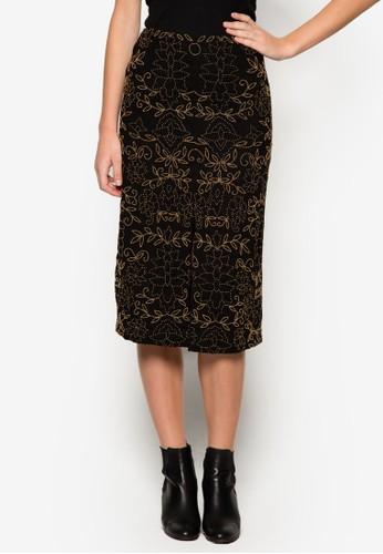 貼花前開衩及zalora 包包 ptt膝裙, 服飾, 及膝裙