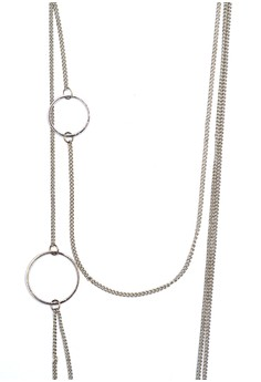 Geometric Multi Curb Chain Circle Necklace