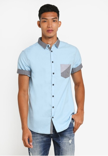 Fidelio blue Collar and Pocket Short Sleeves Shirt BB408AA3578DFCGS_1