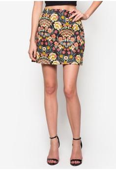 Retro Floral Print Mini Skirt
