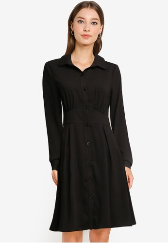 ZALORA WORK black Button Down Shirt Dress F2FC9AA0149D17GS_1