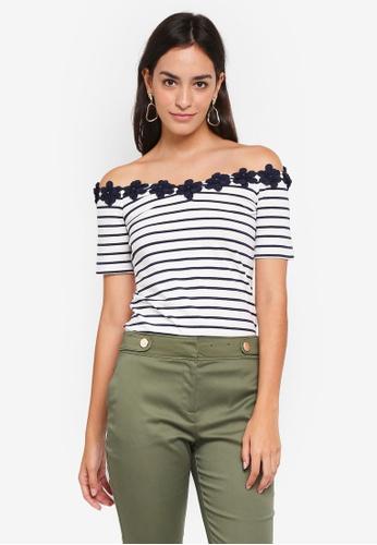 Dorothy Perkins 海軍藍色 Navy Stripe Daisy Trim Bardot Top 1D8C3AA3674410GS_1