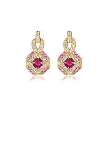Glamorousky red 925 Sterling Silver Plated Gold Fashion Bright Geometric Diamond Earrings with Cubic Zirconia 2F584ACC703723GS_1