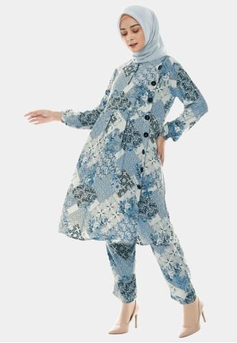 COTTON BEE blue Set Tunic Ethnic Batik Tunik Dewasa - Carolina Blue C9189AAF21BD6CGS_1