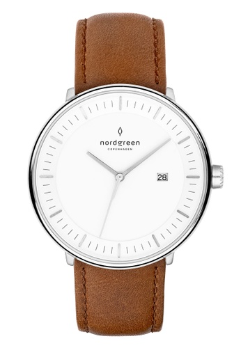 Nordgreen brown and silver Nordgreen Philosopher Silver 40 mm - Brown Leather Watch CDC7EACE74FEC9GS_1
