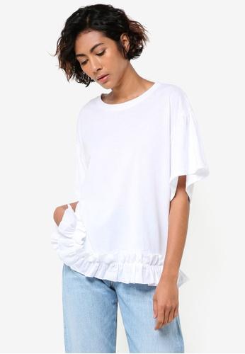 Mango white Ruffles Ruched T-Shirt MA193AA97BZEMY_1